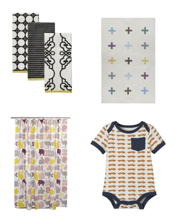 Clockwise From Upper Right Plus Rug Cars Onesie Target Gio Lemon Shower Curtain Kitchen Towels
