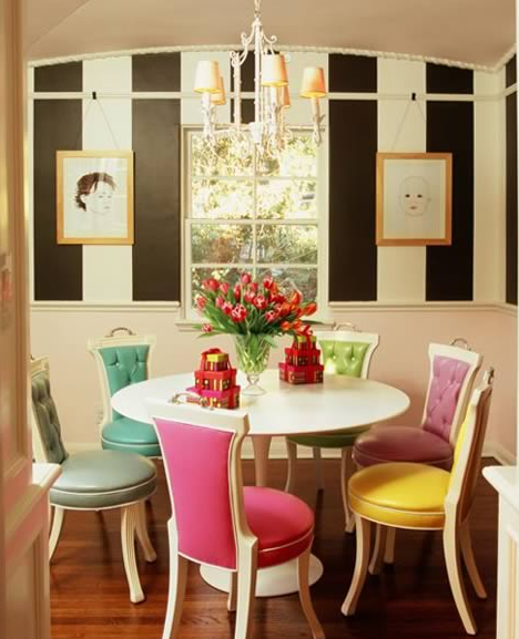 Colorful Dining Chair: Candy-colored, Mismatched Dining Chairs.